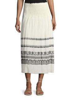 Max Studio Smocked-Waist Jacquard Skirt