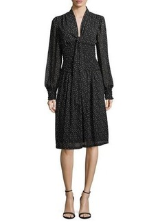 Max Studio Smocked-Waist Printed Georgette Dress
