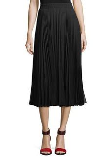 Max Studio Solid Crepe Pleated Skirt