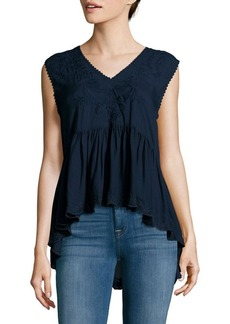 Max Studio Solid Embroidered Top