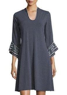 Max Studio Square-Print Flutter-Sleeve Dress