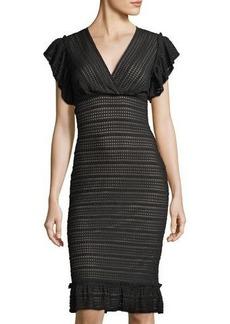 Max Studio Stretch Lace Ruffle Dress