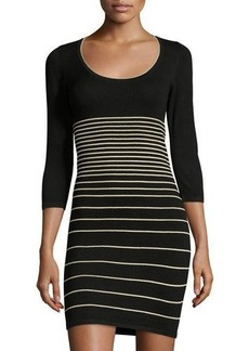 Max Studio Striped 3/4-Sleeve Sweaterdress
