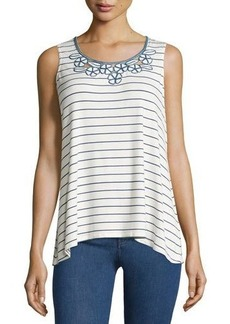 Max Studio Striped Embroidered-Neck Tank