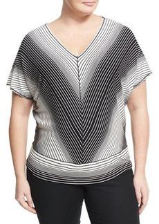 Max Studio Plus Striped Jersey Short-Sleeve Blouse
