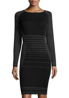 Max Studio Striped Long-Sleeve Sweaterdress