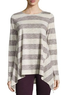 Max Studio Striped Long-Sleeve Trapeze Top