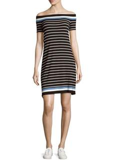 Max Studio Striped Off-The-Shoulder Dress