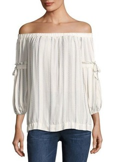 Max Studio Striped Off-the-Shoulder Shirt