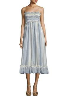 Max Studio Striped Smocked-Bodice Shirting Dress
