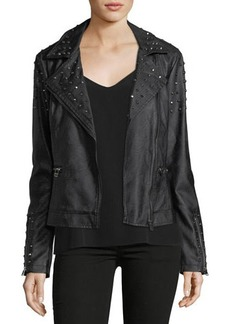 Max Studio Studded Faux-Leather Moto Jacket