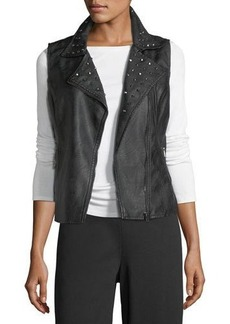 Max Studio Studded Faux-Leather Zip Vest
