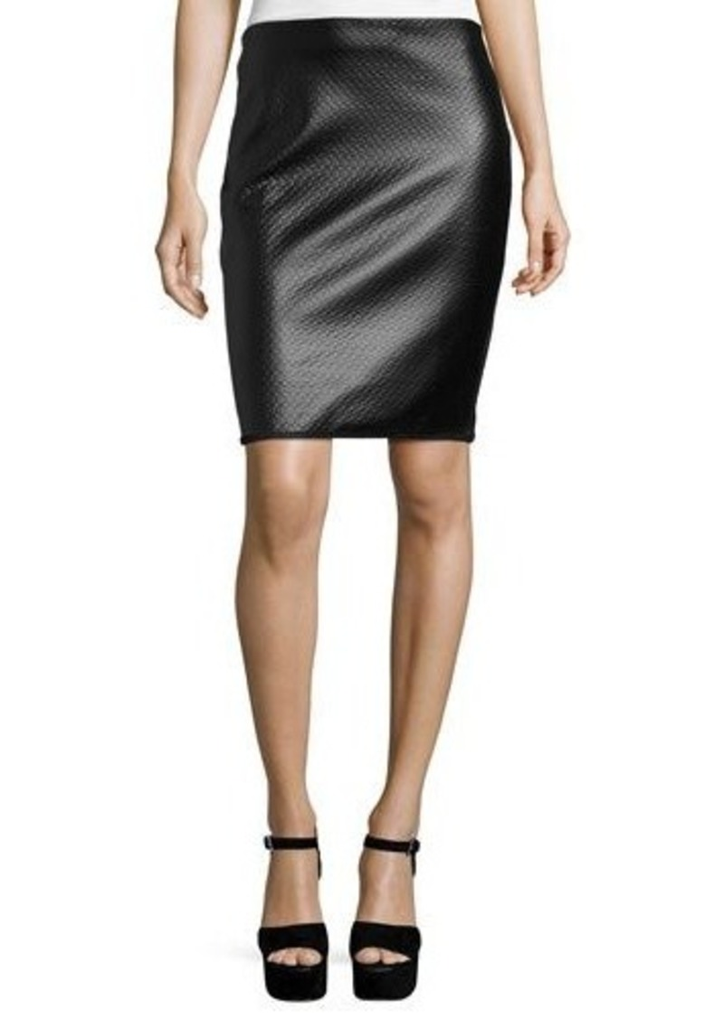 Max Studio Textured Faux-Leather Pencil Skirt