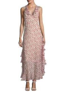 Max Studio Textured-Print Halter Maxi Dress