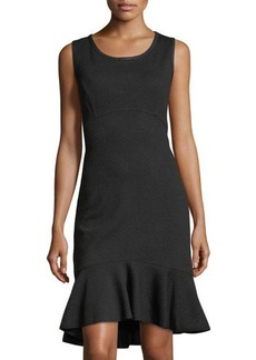 Max Studio Textured Ruffle-Hem Sleeveless Knit Dress