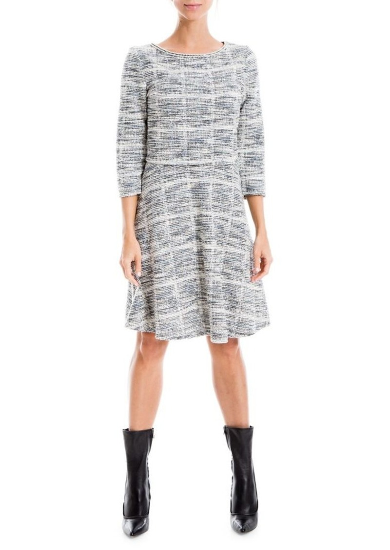 Max Studio Textured Tweed Skater Dress