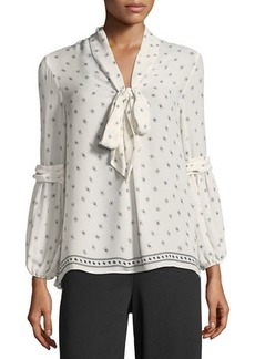 Max Studio Tie-Neck Crepe Blouse