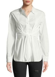 Max Studio Tie-Waist Button-Front Blouse