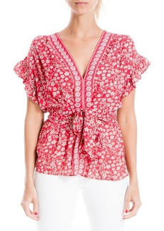 Max Studio Tied V-Neck Floral Border Top