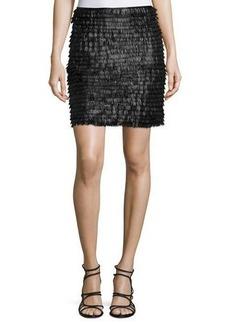 Max Studio Tiered Fringe Leatherette Mini Skirt