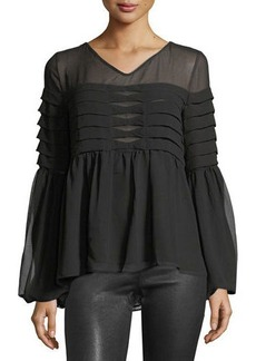 Max Studio Tiered-Pleat Bell-Sleeve Blouse