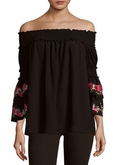 Max Studio Tiered Sleeve Off-The-Shoulder Top