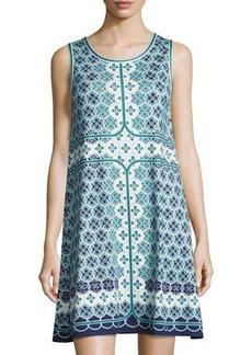 Max Studio Tile-Print Trapeze Dress