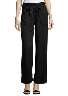 Max Studio Twill Wide-Leg High-Waist Pants