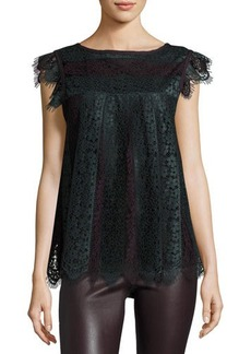 Max Studio Two-Tone Lace Cap-Sleeve Top