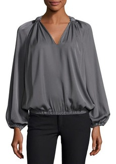 Max Studio V-Neck Knotted Shoulder Blouse