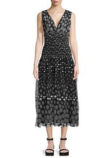 Max Studio V-Neck Polka-Dot Midi Dress