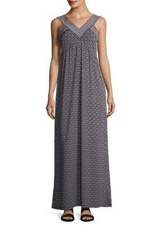 Max Studio V-Neck Printed Jersey Maxi Dress
