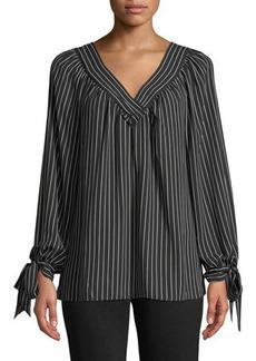 Max Studio V-Neck Tie-Cuff Striped Blouse