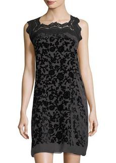 Max Studio Velvet-Embroidered Sleeveless Dress