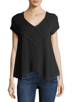 Max Studio Waffle-Knit Puckered Top