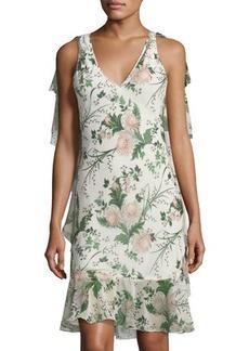 Max Studio Weekend Floral-Print Chiffon-Trim Midi Dress