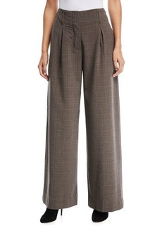 Max Studio Wide-Leg Plaid Pants