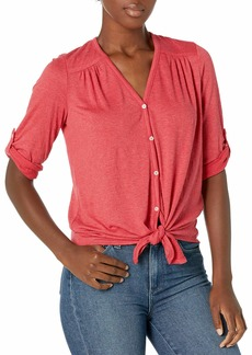 Max Studio Women's 3/4 Roll Tab Sleeve Button Front Textured Knit Top