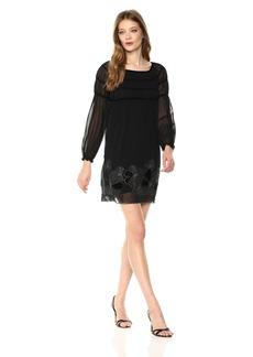 Max Studio Women's Balloon Sleeve Velvet Embroidered Dress  M
