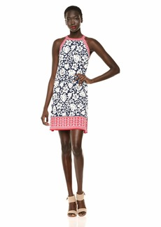 Max Studio Women's Border Crisscross Printed Matte Jersey Halter Dress Navy/Lipstick Palm Orchid Wide