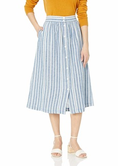 Max Studio Women's Button Front Linen Blend Stripe Skirt Navy/White Twinning Extra Large