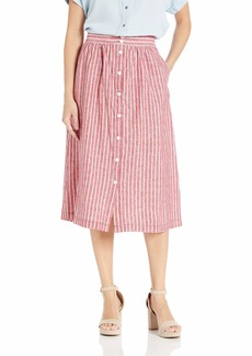 Max Studio Women's Button Front Linen Blend Stripe Skirt Red/White Whale Extra Large
