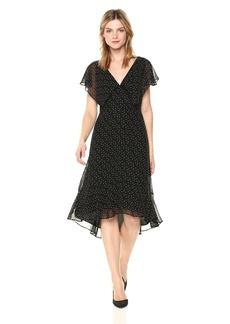 Max Studio Women's Cap Sleeve Dress Black/Taupe  Scattered Polka dot M