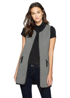 Max Studio Women's Check Quilted Knit Vest  XS