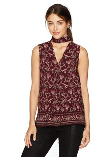 MAXSTUDIO Max Studio Women's Choker Sleeveless Printed Blouse With Open Hem Burgundy Tossed Flowers n Leaves Panel