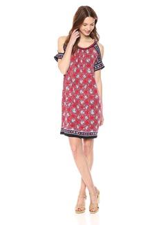 MAX STUDIO Women's Cold Shoulder Jersey Dress Read Head/Black Lily pad