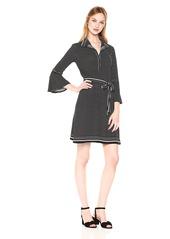 Max Studio Women's Collar 3/4 Length Dress with Bell Sleeve
