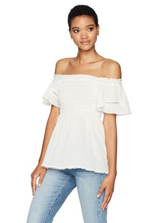 Max Studio Women's Cotton Crepeon Off The Shoulder Shirt
