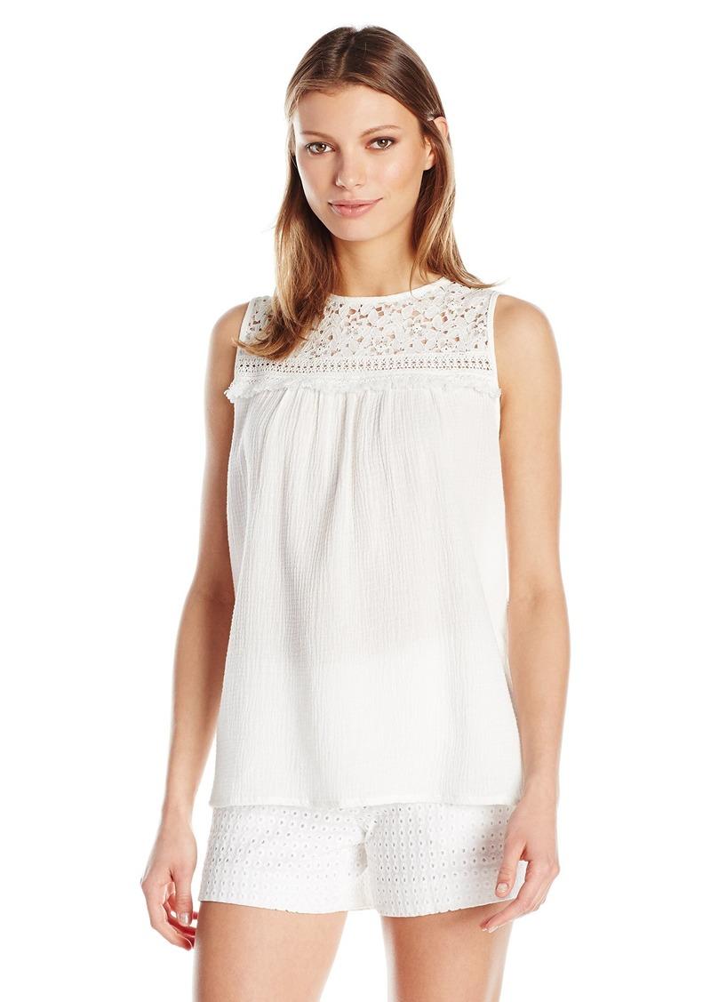 Max Studio Women's Cotton Gauze Sleeveless Blouse Off  S