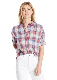 Max Studio Women's Cotton Shortsleeve Plaid Shirting With Buttons  XS
